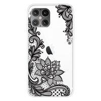 Coque TPU Fleurs au Henné pour iPhone 12 et iPhone 12 Pro - Transparente
