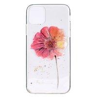 Étui à fleurs en TPU pour iPhone 12 et iPhone 12 Pro - transparent