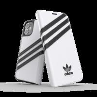 Étui en similicuir adidas Originals pour iPhone 12 mini - blanc avec noir