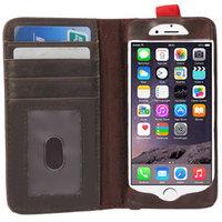Book Étui bibliothèque iPhone 6 Plus 6s Plus Wallet Livre cuir marron