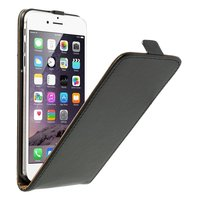Étui de protection en cuir noir pour iPhone 6 Plus 6s Plus, en cuir de vachette