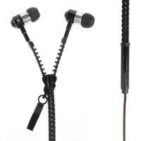 Fermeture à glissière noire Écouteurs intra-auriculaires Écouteur bouton de microphone