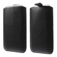 Coque noire en cuir iPhone 6 6s 7 8 Plus Etui en cuir