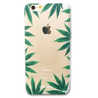 Coque transparente pour téléphone portable iPhone 6 Plus 6s Plus, motif marijuana cannabis