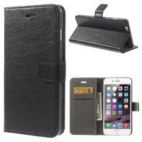 Portefeuille en cuir et étui portefeuille iPhone 6 Plus 6s Plus noir - Bibliothèque