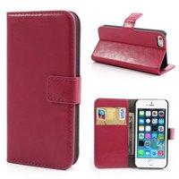 Portefeuille en cuir rose étui portefeuille iPhone 5 5s SE couverture de portefeuille en cuir