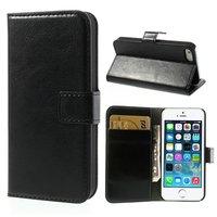 Étui et portefeuille en cuir noir pour iPhone 5 5s SE Cover portefeuille en cuir