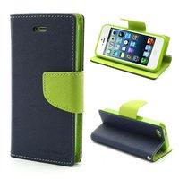 Étui portefeuille Mercury Goospery original pour iPhone 5 5s SE 2016 portefeuille bleu foncé vert
