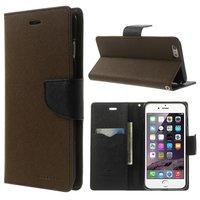 Mercury Goospery Bookcase case iPhone 6 Plus 6s Plus Wallet case Marron portefeuille noir