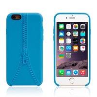 Étui robuste avec fermeture à glissière imitation iPhone 6 6s Étui en silicone bleu