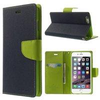 Portefeuille Mercury Goospery bleu Bibliothèque iPhone 6 Plus 6s Plus Étui en cuir bleu foncé