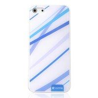 Étui bleu blanc Comma pour iPhone 5 5s SE rigide avec lignes bleues