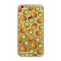 Étui Kiwi transparent pour iPhone 6 Plus et 6s Plus silicone TPU fruit transparent Kiwis vert