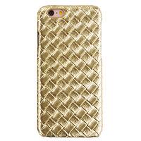 Étui rigide en or de luxe pour iPhone 6 6s, structure 3D tissée.