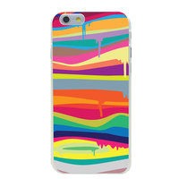 Étui rigide coloré de couleur pour iPhone 6 Plus et 6s Plus Rainbow, motif de peinture