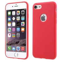 Coque en silicone unie rouge pour iPhone 7 8 Coque rouge Coque rouge