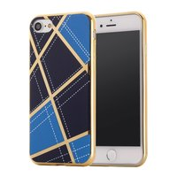 Coque en silicone chic iPhone 7 8 lignes de design Or Bleu