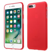 Etui en silicone rouge iPhone 7 Plus et 8 Plus Couverture rouge Etui solide
