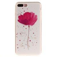 Fleur rose avec coque blanche Coque en TPU pour iPhone 7 Plus 8 Plus en silicone