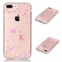 Coque TPU transparente avec oiseaux iPhone 7 Plus 8 Plus Fleurs jaunes roses