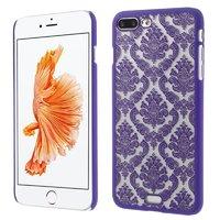 Étui rigide violet motif henné Coque transparente iPhone 7 Plus 8 Plus