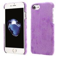 Étui rigide pourpre en peluche pour iPhone 7 8 et violet doux