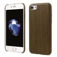 Housse en bois silicone pour iPhone 7 8 Housse TPU en bois Imitation bois foncé