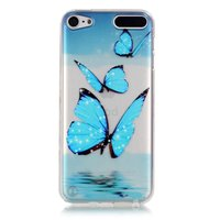 Coque de protection transparente pour iPod Touch 5 6 7 Coque TPU Papillons bleus