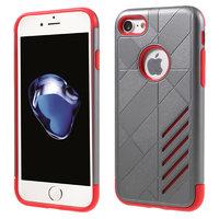 Coque en TPU rigide grise métallique rouge Etui argenté rouge pour iPhone 7