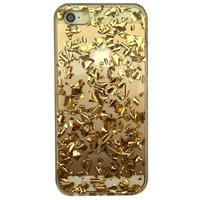 Coque en TPU transparente avec feuille d'or iPhone 5 5s SE - Dorée