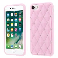 Coque en silicone rose avec pierres iPhone 7 8 Diamants brillants