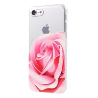Coque en TPU rose rose Coque transparente iPhone 7 8 SE 2020 Flower Cover