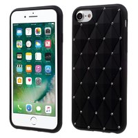 Étui en silicone noir avec diamants iPhone 7 8 Strass brillants