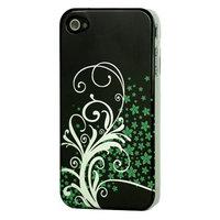 Étui Fleurs vert argenté iPhone 4 4s Noir