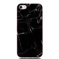 Coque en TPU marbre noir pour iPhone 5, 5s et SE