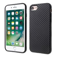 Coque en fibre de carbone iPhone 7 8 TPU noir print