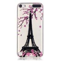 Housse en silicone TPU transparente pour iPod Touch 5 6 7 Paris rose fleur