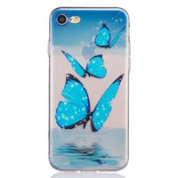 Coque TPU iPhone 7 8 SE 2020 papillon bleu TPU