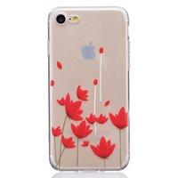 Coque TPU iPhone 7 8 SE 2020 Coque coquelicot empreinte fleurs rouges