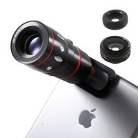 Kit objectif universel 4in1 Macro Fisheye Grand-angle 10x Téléobjectif iPhone Samsung Sony