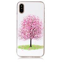 Coque en TPU motif fleuri rose pour arbre fleuri iPhone X XS