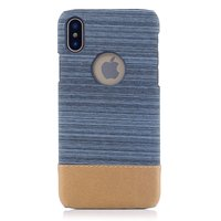 Etui à combinaison cuir bleu et poussière marron Etui rigide pour iPhone X XS