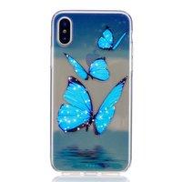 Coque en TPU papillon transparent bleu glacier pour iPhone X XS