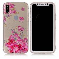 Coque iPhone XS XS transparente fleurs roses