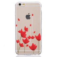 Coque tulipes fleurs rouges transparentes TPU iPhone 6 6s