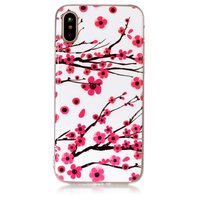 Coque iPhone X XS branches rouges fleurs printemps TPU blanc