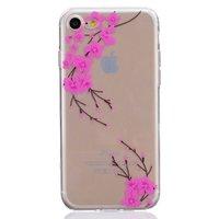 Coque transparente en silicone rose pour iPhone 7 8 SE 2020 avec branche de fleur rose