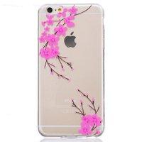 Coque transparente en silicone rose pour iPhone 6 6s avec branche de fleur rose