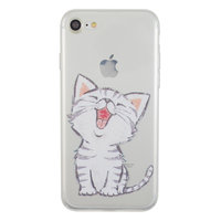 Coque transparente en silicone blanc pour chat iPhone 7 8 SE 2020