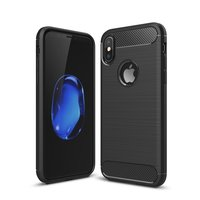 Étui Carbon Armor pour iPhone X XS noir, protection en TPU